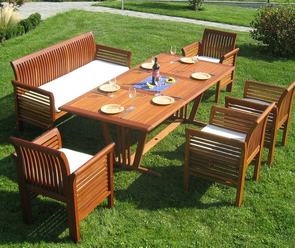 gartenm bel set sitzgruppe fsc holz big family incl auflagen sitzgarnitur garten ebay. Black Bedroom Furniture Sets. Home Design Ideas