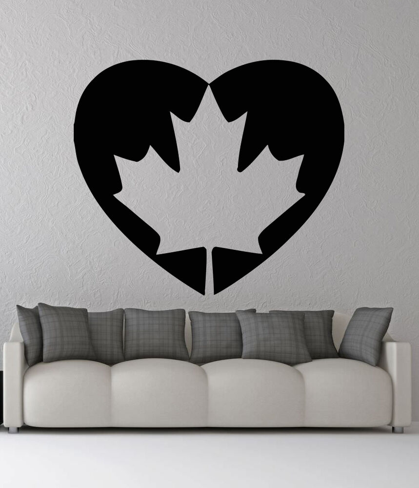 Details about removable vinyl sticker mural decal wall decor canada flag heart emblem vy466