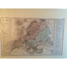 Antique hand colored map dated 1860 Europe Phisique