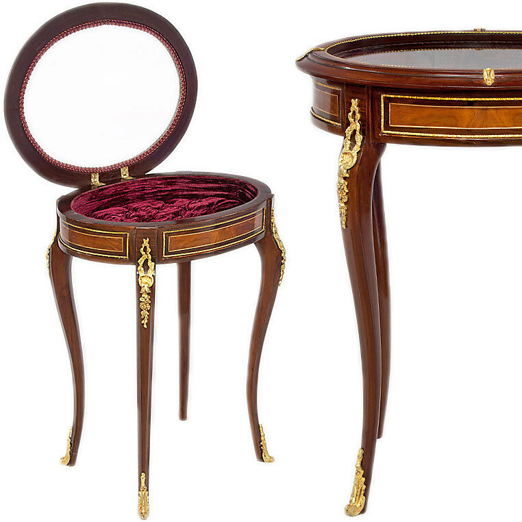 louis xv stil tischvitrine table display ziertisch oval pr sentier tisch m bel ebay. Black Bedroom Furniture Sets. Home Design Ideas