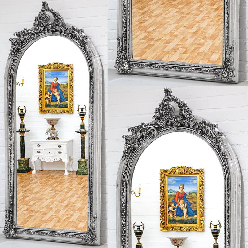 luxus holzrahmen spiegel silbern wall mirror antik stil wandspiegel ebay. Black Bedroom Furniture Sets. Home Design Ideas