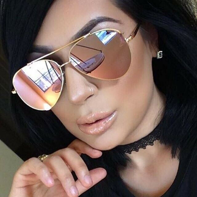 Gold Pink Mirror Lens Aviator Sunglasses Limited Edition
