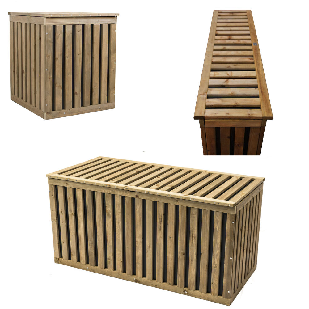auflagenbox holztruhe gartenbox kissenbox gartentruhe holz kunststoff hopstibox ebay. Black Bedroom Furniture Sets. Home Design Ideas