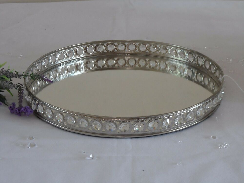 Round Mirror Glass Gem Decorative Vintage Silver Metal Plate Drinks Display Tray