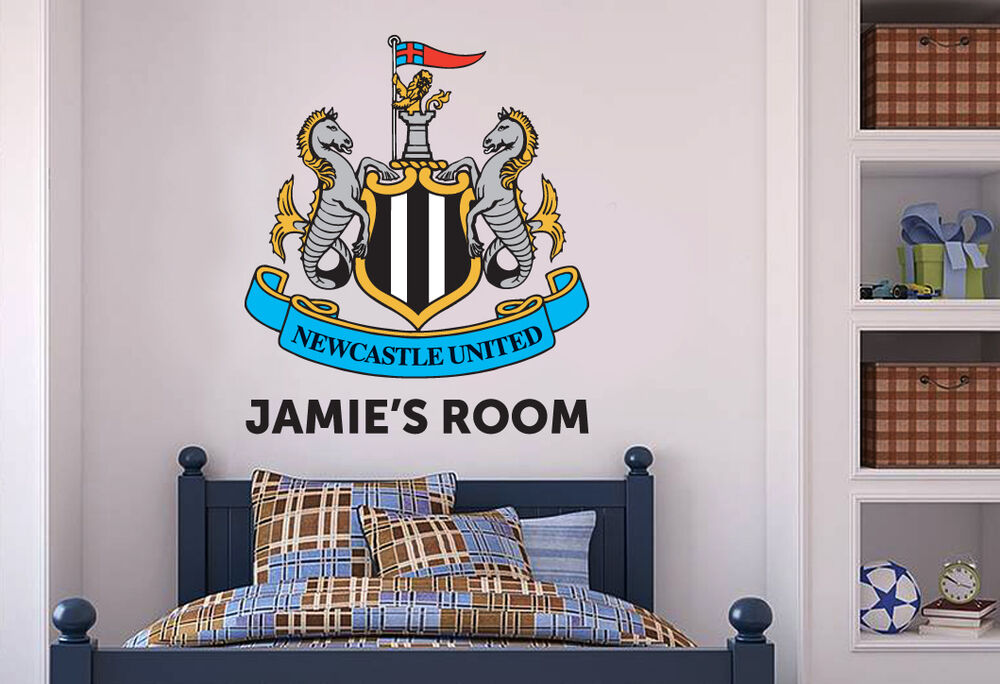 Official newcastle united football personalised crest wall sticker decal mural ebay