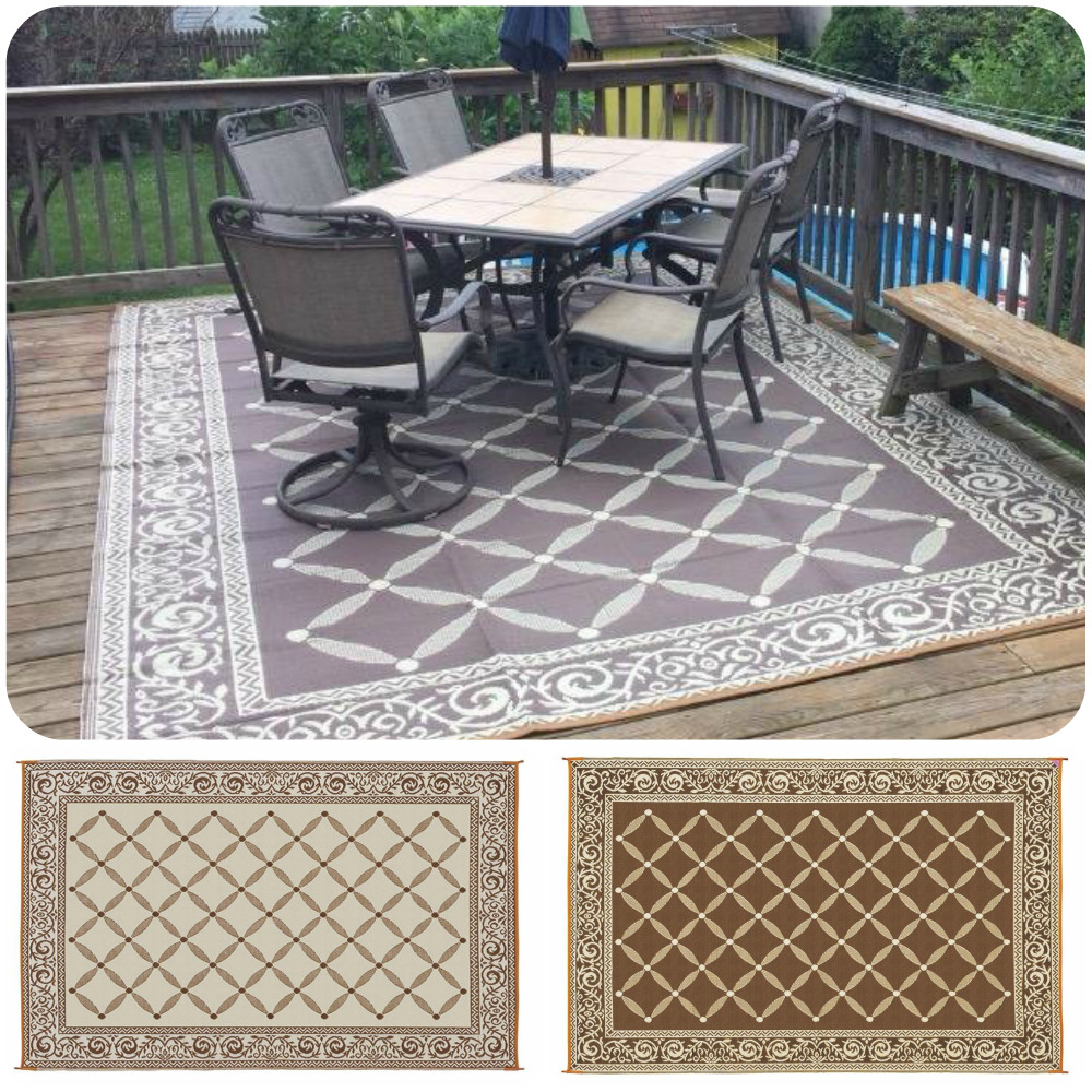 Round Outdoor Rugs For Patios: Reversible RV Patio Mat Outdoor Rug Camping Picnic Carpet