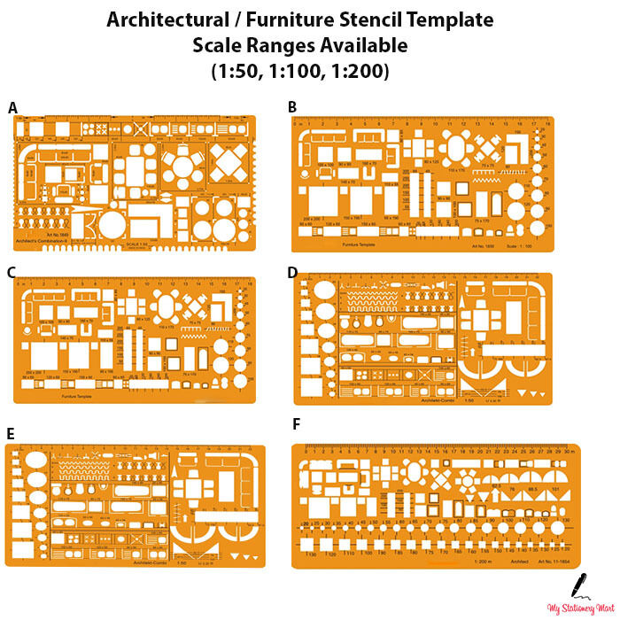 Kitchen Design Layout Template: Architectural Template Stencil Bathroom Kitchen Furniture