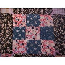 Vintage 1900s  QUILT, 9 PATCH, DARKER COLORS, TIED