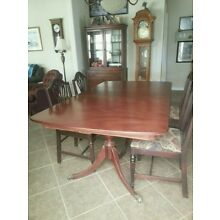 DUNCAN PHYFE TABLE + LEAF + 6 CHAIRS ! WOOD CLASSIC DINING SET LOT VTG ATQ CLAWS