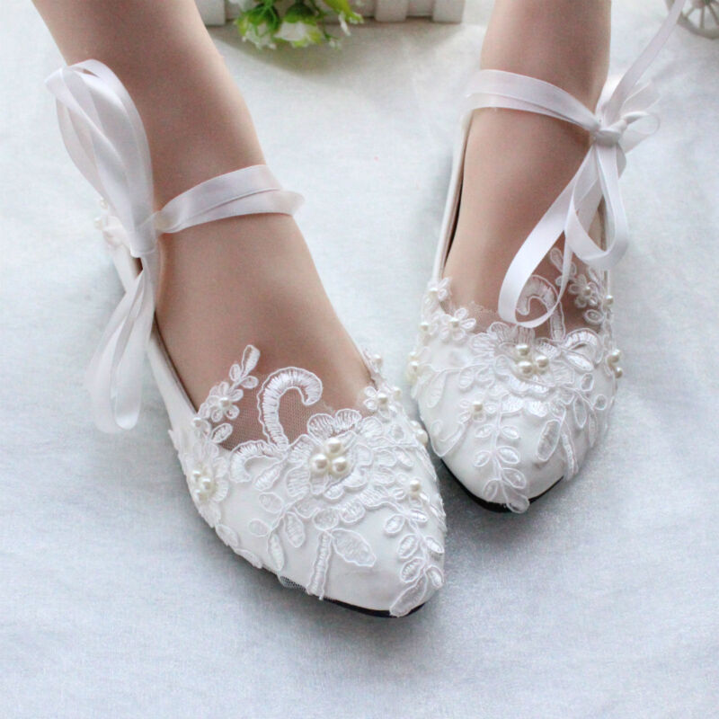 Wedding Bridal Heels: Women Flats Pearls Lace Mary Jane Princess Wedding White