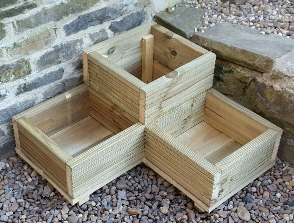 l shaped corner garden planter decking handmade ebay