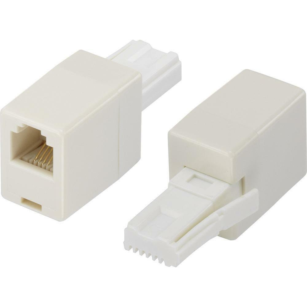 Uk Bt Telephone Plug To Rj11 Socket Adapter Connector Straight Wiring A Extension Box Wire Adaptor Ebay