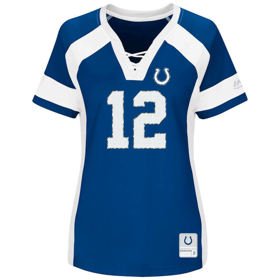 681f5b9fe51 NEW WOMENS NFL Team Apparel INDIANAPOLIS COLTS  12 ANDREW LUCK V-Neck Jersey  NWT