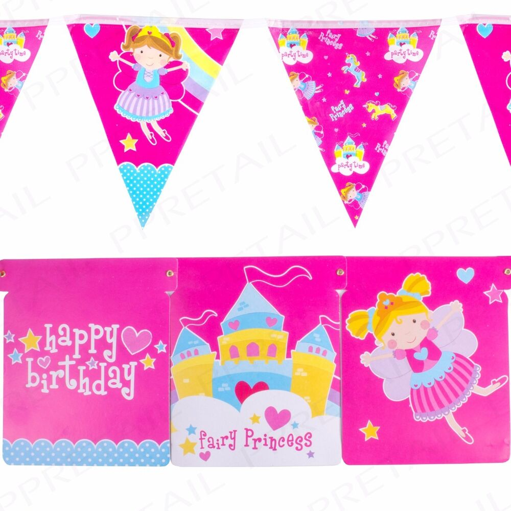 Details About 10x HAPPY BIRTHDAY BUNTING 2M LONG Pink Girls Hanging Party Wall Decorations Set