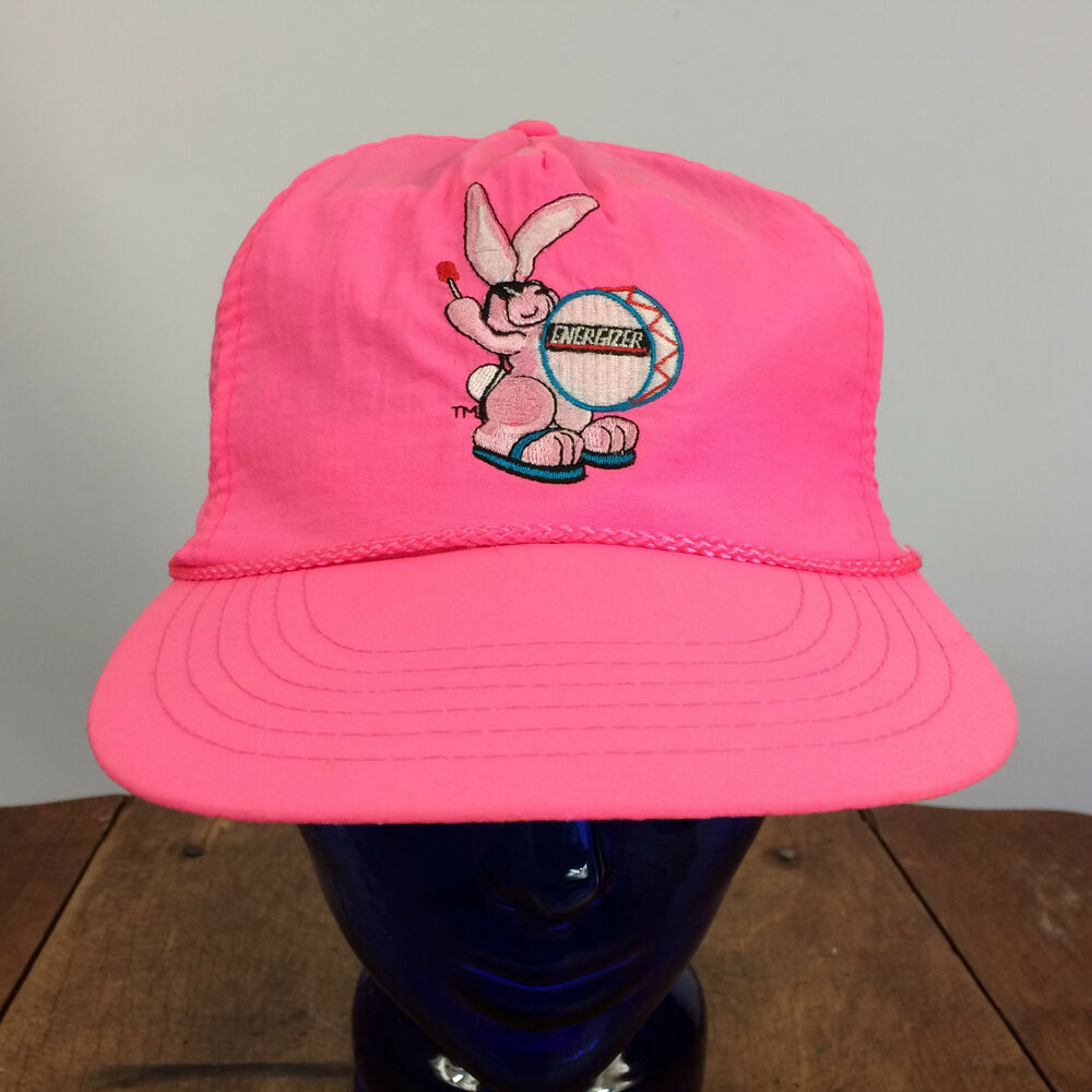 b12b60a818e9a1 Details about Vintage 80's 90s Neon Hot Pink Energizer Bunny Battery Surf Snapback  Hat Cap