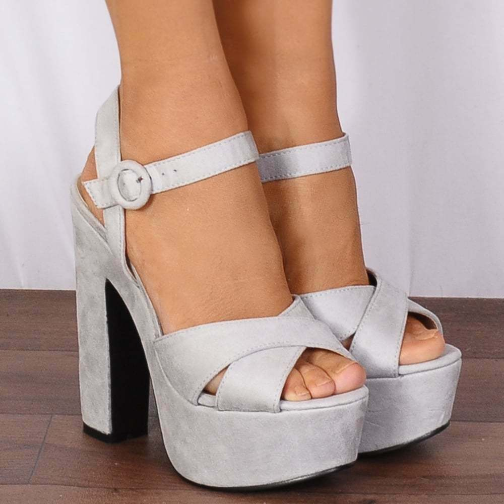 d4328042030 Details about LIGHT GREY PLATFORMS STRAPPY SANDALS PEEP TOES HIGH HEELS  SHOES ANKLE STRAP SIZE