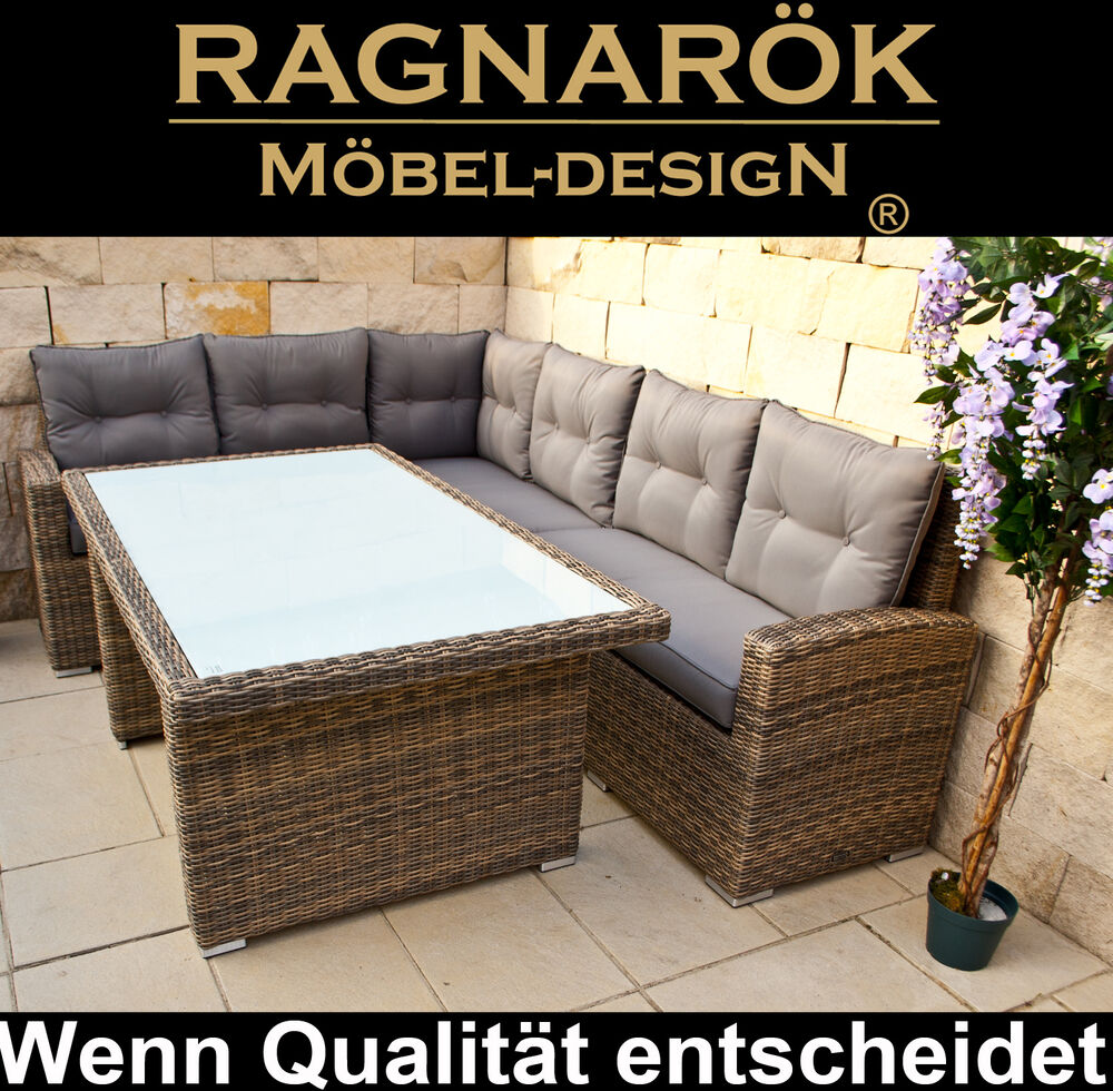 poly rattan gartenm bel hohe dinning lounge ragnar k m beldesign esstisch set 4260500840988 ebay. Black Bedroom Furniture Sets. Home Design Ideas