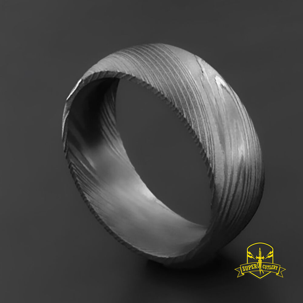 Damascus Steel Womens Wedding Band Four by MokumeDamascusRings |Damascus Steel Rings For Women