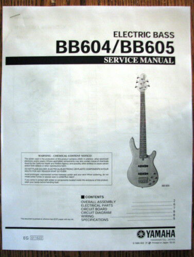 Yamaha Bb604 Bb605 4 And 5 String Bass Guitar Service Manual Parts