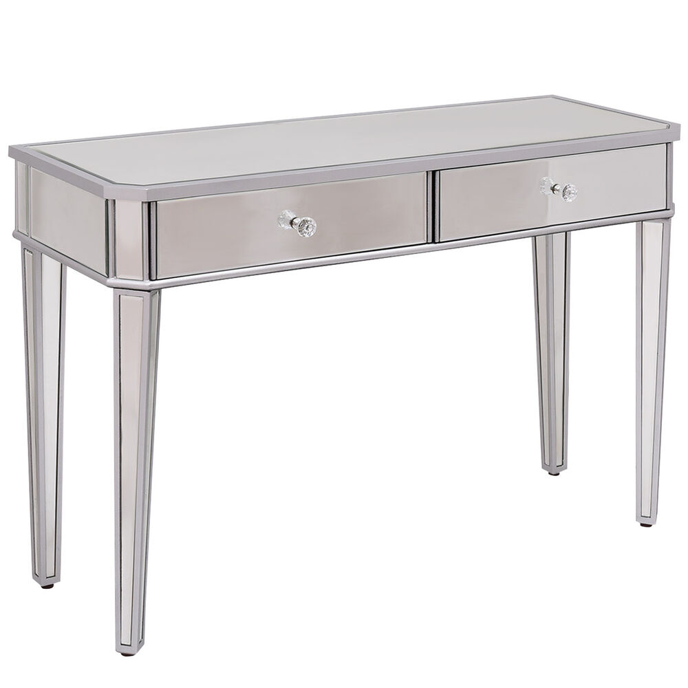 2 drawer mirrored vanity make up desk console dressing for Modern make up table