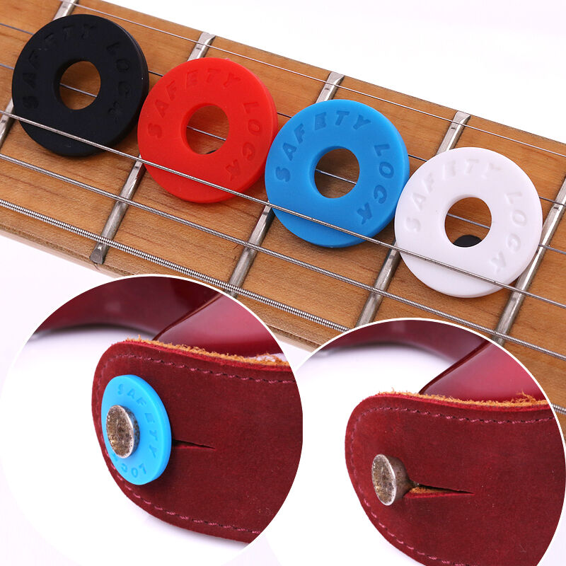 4pcs strap blocks rubber guitar strap lock system set red black grolsch ebay. Black Bedroom Furniture Sets. Home Design Ideas