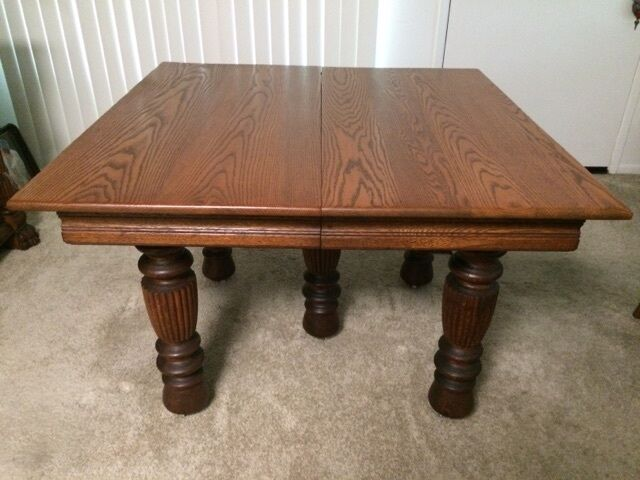 Antique tiger oak 42 square dining table w 5 reeded legs for 5 foot dining room table