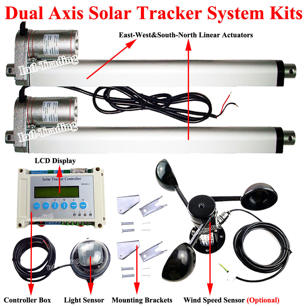 Complete LCD Dual Axis Solar Panel Tracking Tracker DIY