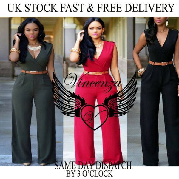Vincenza UK Womens Summer Holiday Ladies Jumpsuit Evening Party Playsuit Ladies