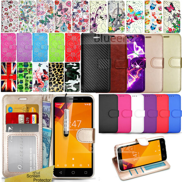 For Vodafone Smart Turbo 7 Case Phone Wallet Cover Leather Flip Book + Protector