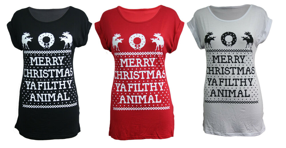 a4db1d11 Details about WOMENS MERRY CHRISTMAS YA FILTHY ANIMAL UGLY RUDE T-SHIRT  HOME ALONE XMAS TOP