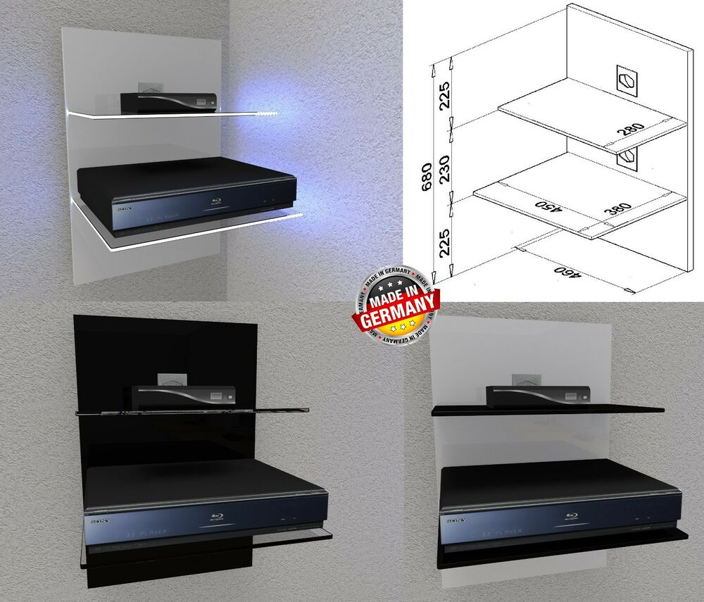 Tv möbel wandpaneel  Wandpaneele WP-450 Schwarz, Weiß LED - Hifi-Rack-Regal ...