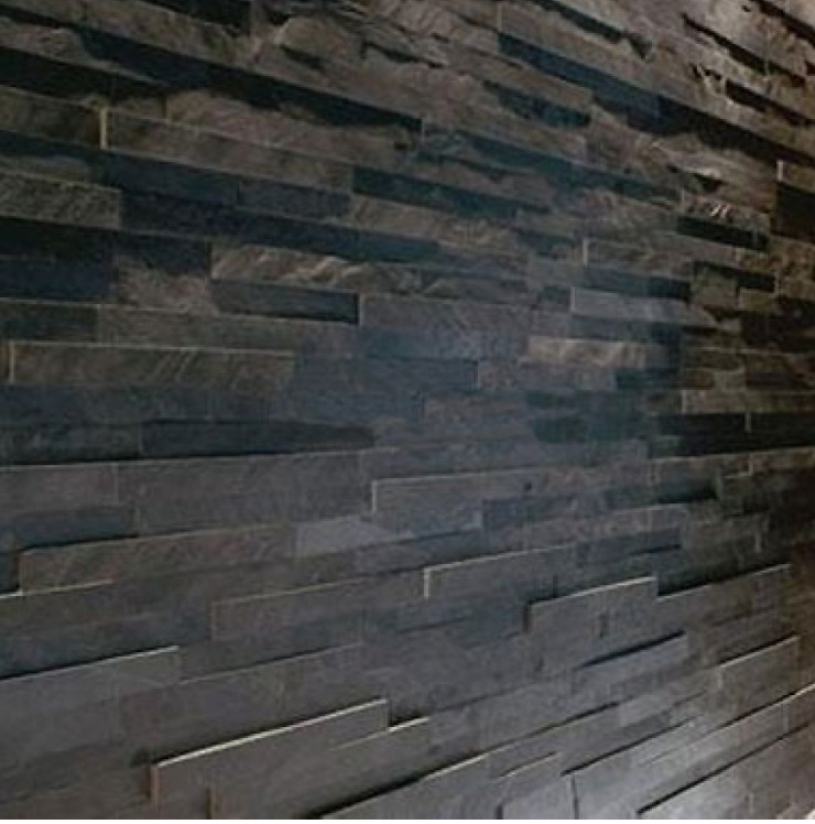 Grey Slate Kitchen Wall Tiles: Black Slate Split Face Wall Cladding For Feature Walls 3 D