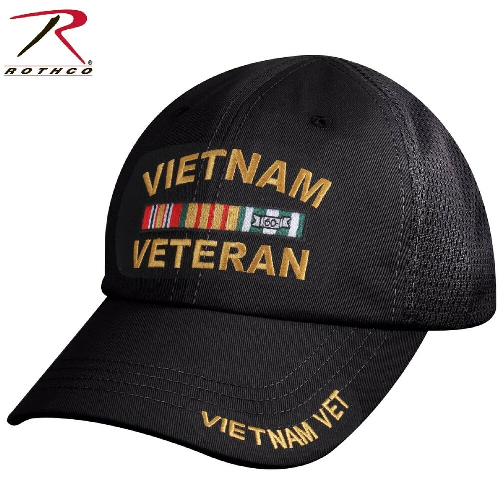 8ff8a7c9d28 Details about VIETNAM VETERAN Mesh Back Baseball Hat - Rothco Black  Lightweight Vets Ball Cap