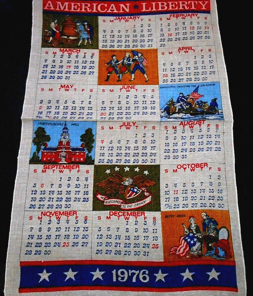 Vintage Kitchen Towel 1976 Bicentennial Calendar Historical Unused