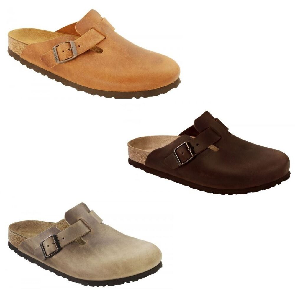 010619134744 Birkenstock Boston Clogs Slip On Leather Mules Tobacco Habana Antique Brown