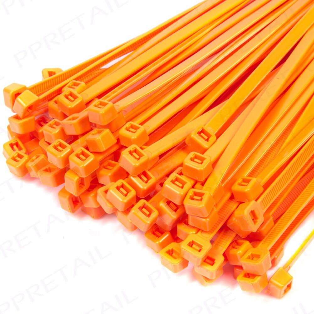 4919e4744d40 Details about PACK OF 500 ORANGE CABLE TIES 200mm Strong Nylon Plastic Cord/Wire  Zip Wrap Clip