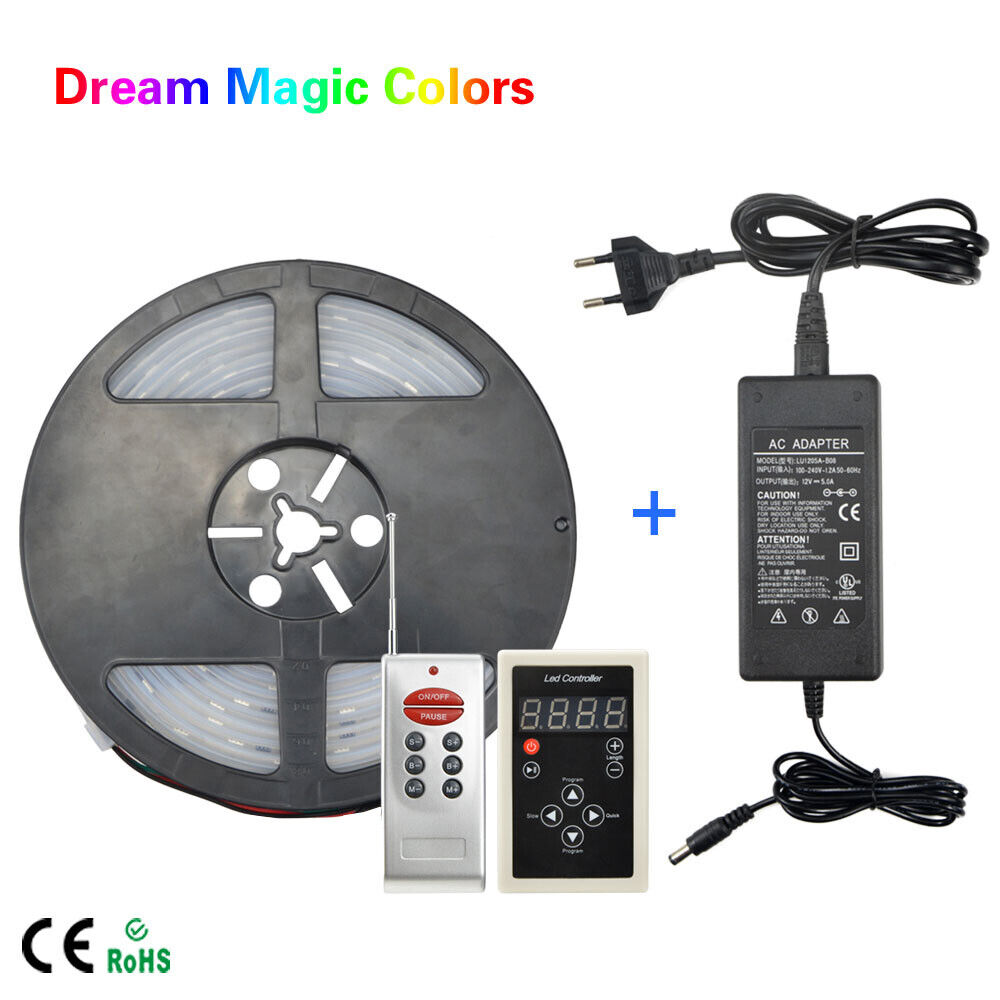 Dream Color Rgb Chasing Led Strip Wiring Diagram 5m Magic 5050 Ws2811 Ic Light Remote Power Ebay