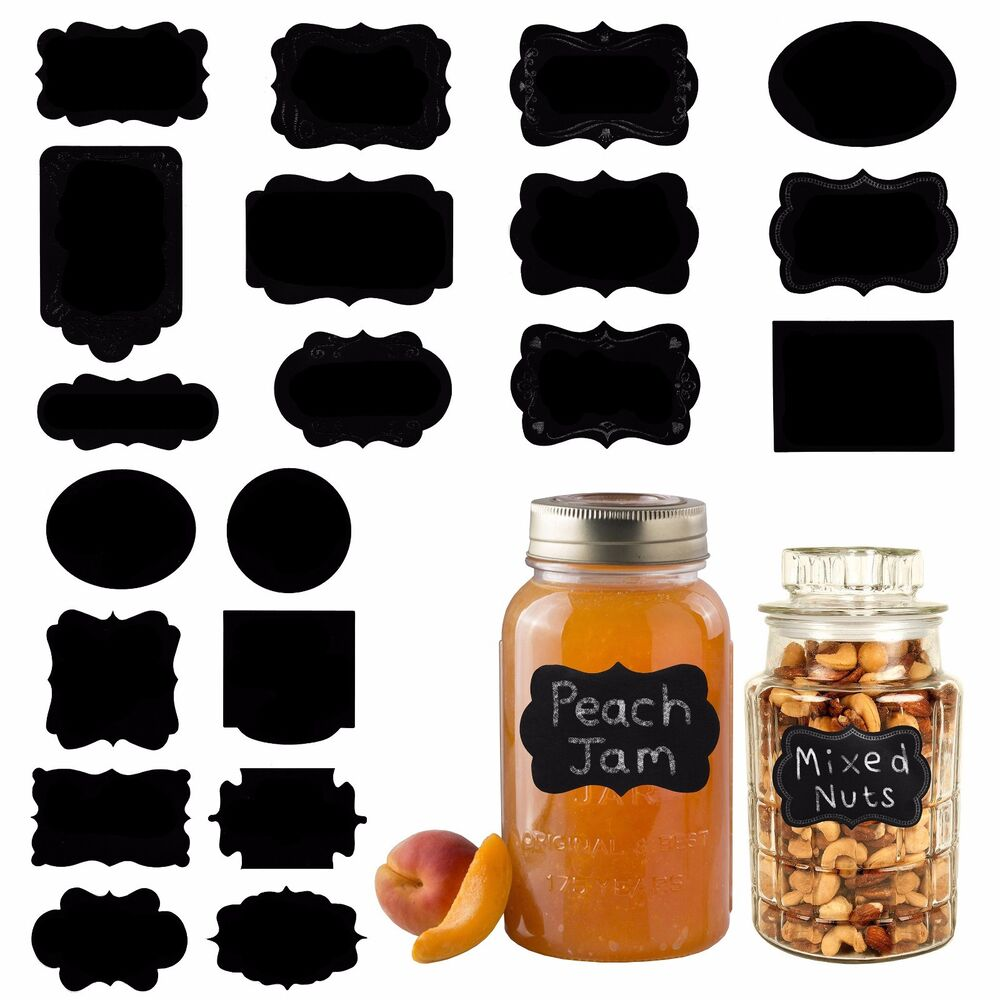 Details about 20 assorted reusable ornate chalk board black sticker labels for jars bottles