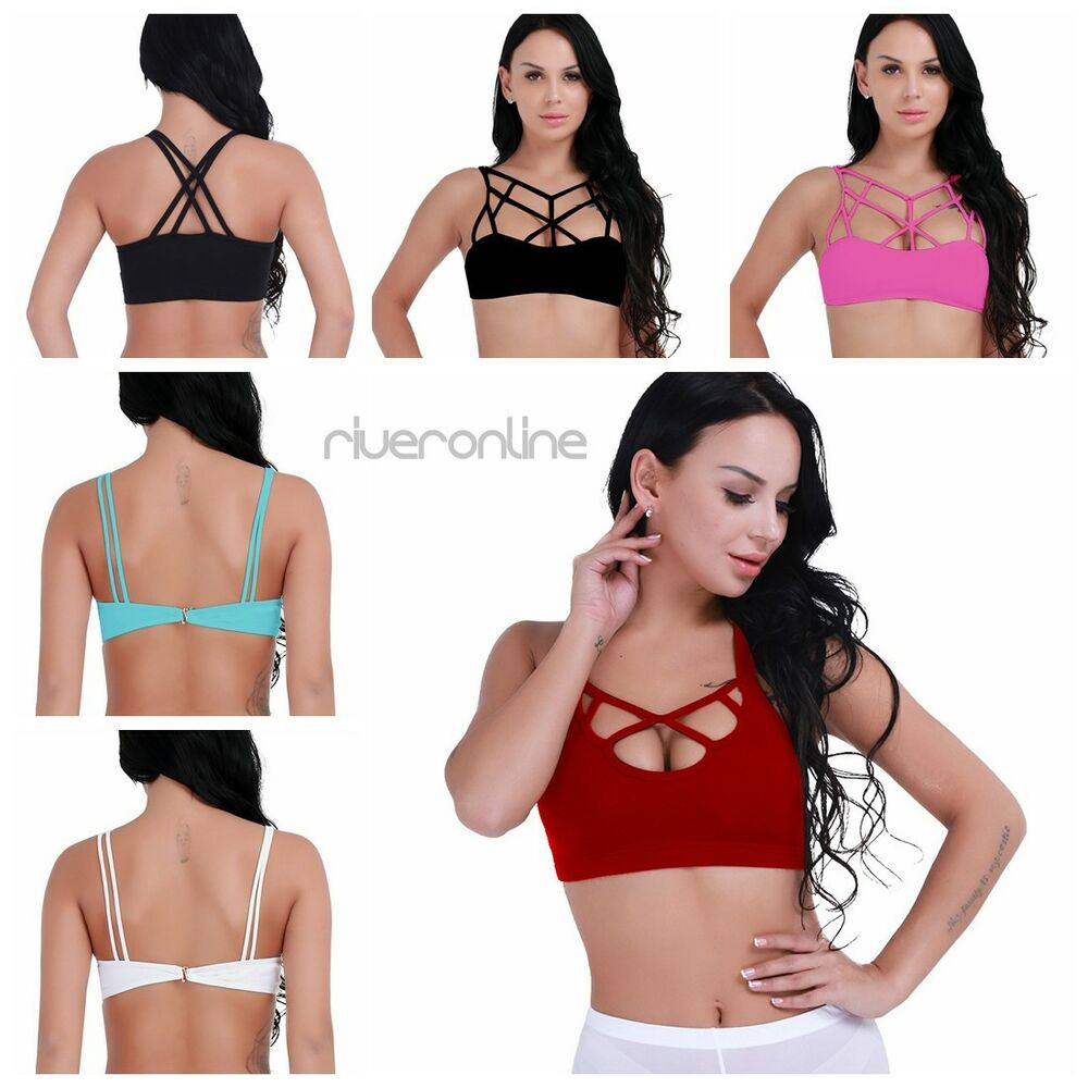 5afe82f32c Details about Women Sexy Criss Cross Strappy Bralette Seamless Sports  Fitness Yoga Bra Tops