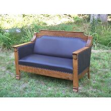 Antique Arts & Crafts Oak Loveseat Couch Sofa Oak and Leather