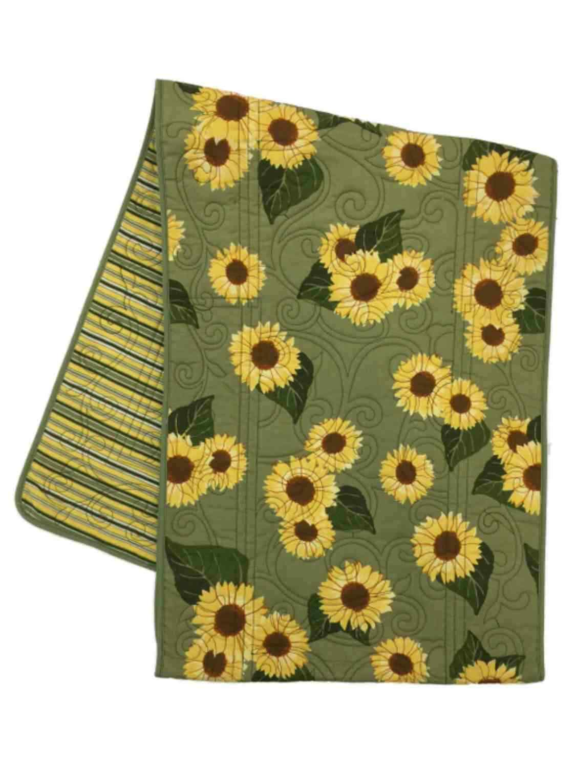 Croft & Barrow Reversible Quilted Table Runner Sunflowers & Stripes 12x72