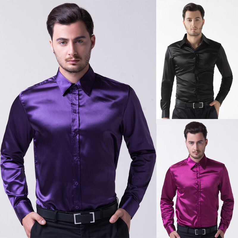 Men\'s Shirts Light Luxury Silk-Like Satin Dress Shirt Tops Wedding ...
