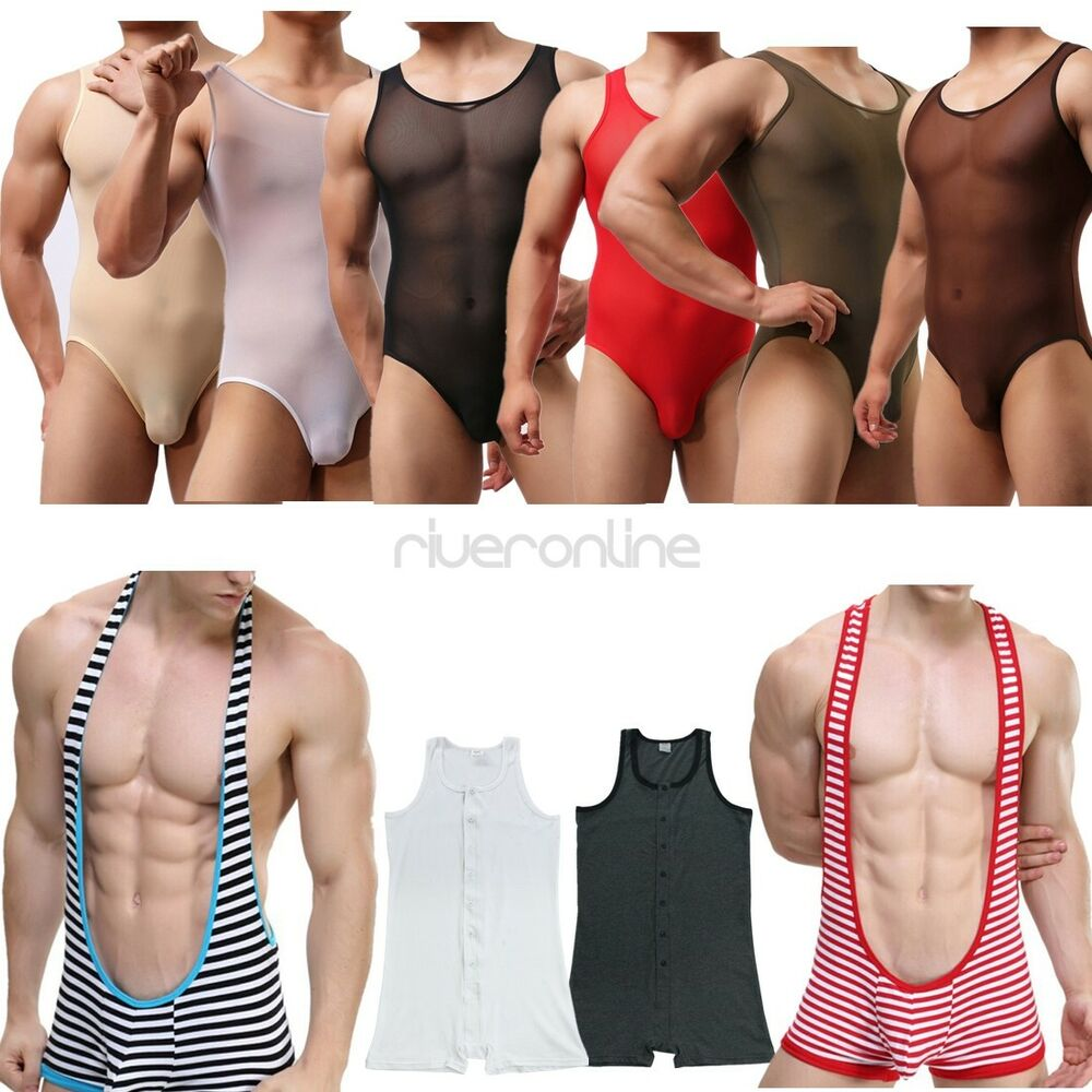 Men's Jockstrap Bodysuit Singlet Leotard Thong One Piece