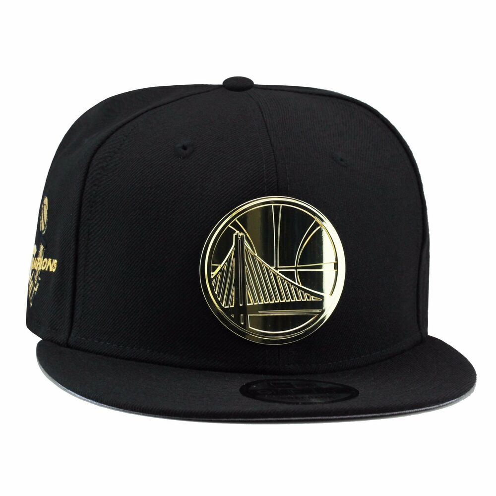 reputable site 37000 a72bc Details about New Era GOLDEN STATE WARRIORS Snapback Hat BLACK GOLD BADGE  For Jordan 4 Royalty