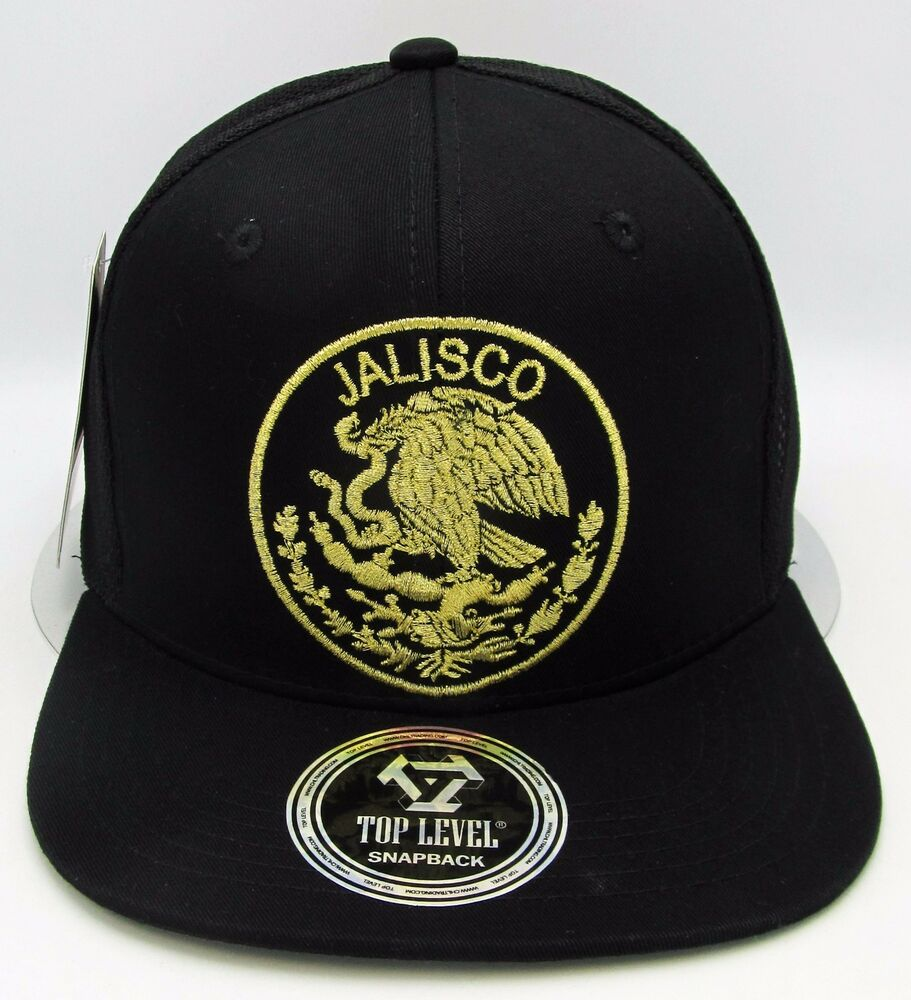 4c67bb4b083 Details about JALISCO MEXICO Logo Federal Snapback Cap Mexican Mesh Trucker  Hat Black OSFM NWT