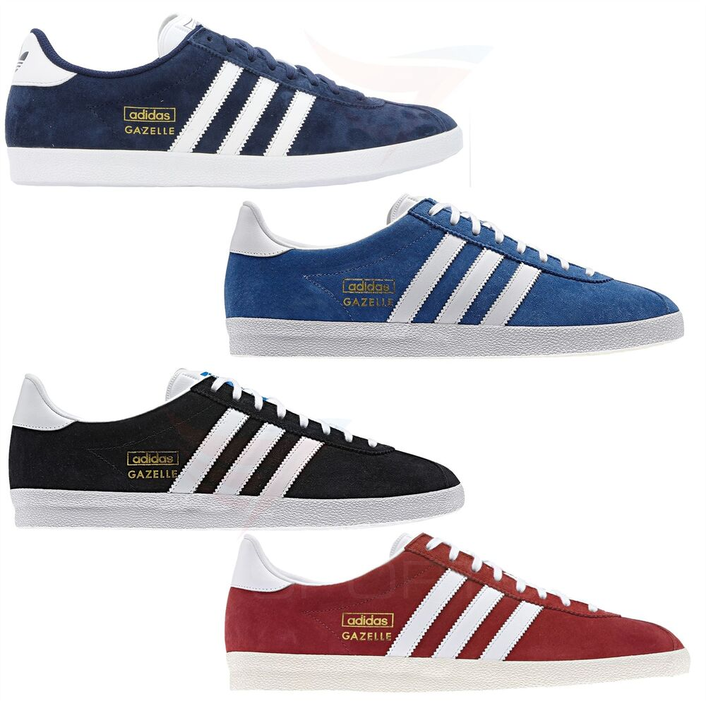 new concept 46665 d1dae adidas GAZELLE OG TRAINERS SNEAKERS ORIGINALS SUEDE RED BLUE BLACK NAVY  GOLD MEN  eBay