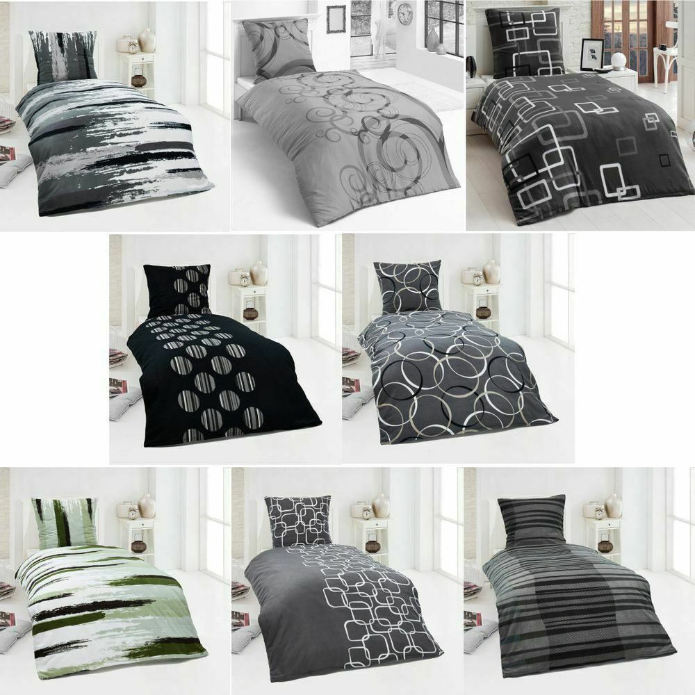 moderne microfaser warme winter thermo fleece bettw sche 135x200 155x220 200x200 ebay. Black Bedroom Furniture Sets. Home Design Ideas