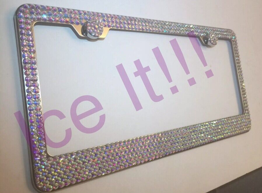 Made with SWAROVSKI AB IRIDESCENT CRYSTALS Bling license plate frame ...