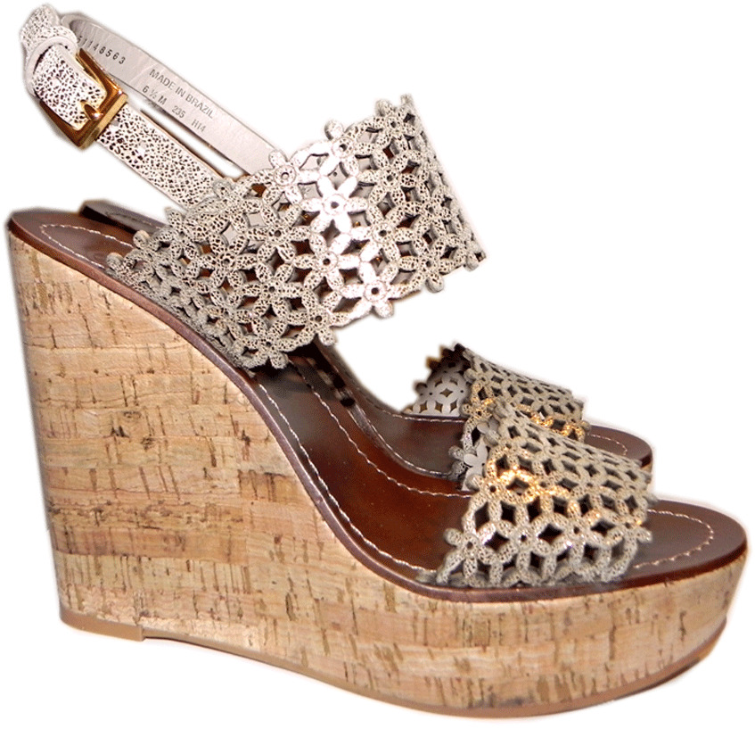 f5b9bb2fd695 Details about Tory Burch Daisy Wedge Sandals Gold Patent Leather Laser Cut  Shoe Clogs 10- 40