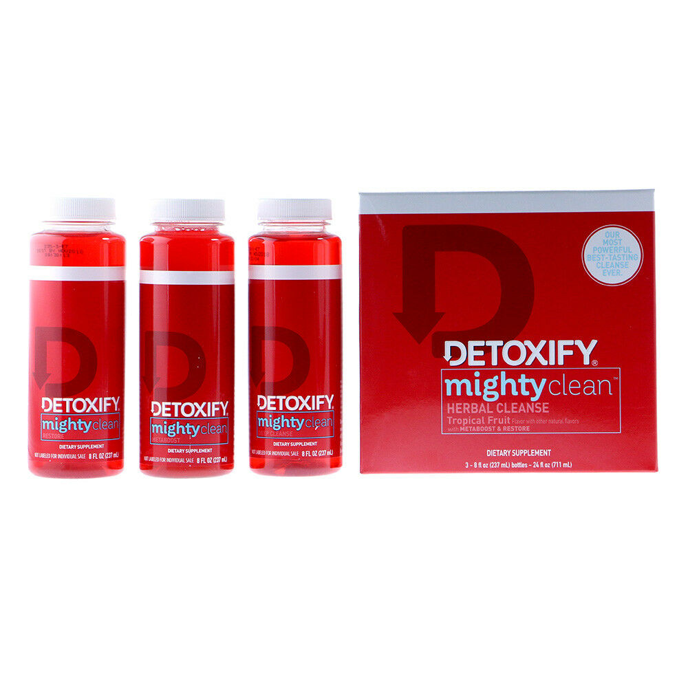detoxify mighty clean herbal cleanse tropical fruit 3 bottles
